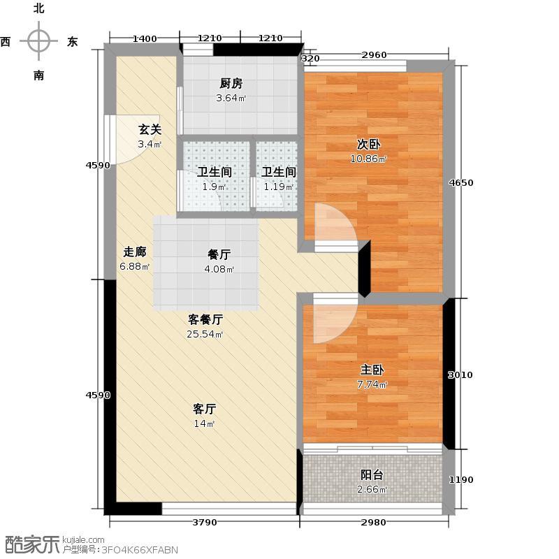 嘉裕礼顿阳光80.86㎡东塔6-30F01单元户型2室1厅2卫1厨
