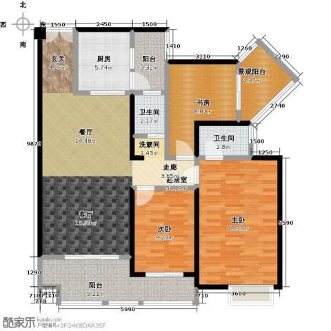 花滩国际新城丁香郡3室0厅2卫1厨112.06㎡户型图