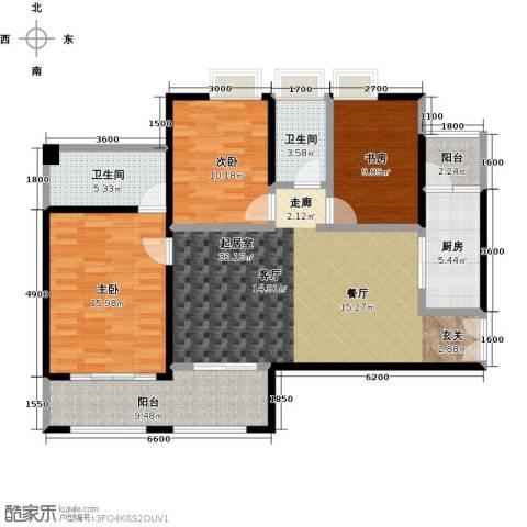 花滩国际新城丁香郡3室0厅2卫1厨105.95㎡户型图