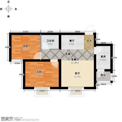 攀华未来城2室1厅1卫1厨68.00㎡户型图