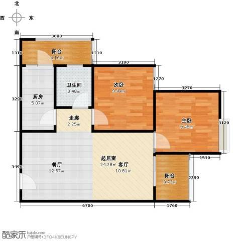 骏逸第一江岸孔雀湾二期2室0厅1卫1厨63.00㎡户型图
