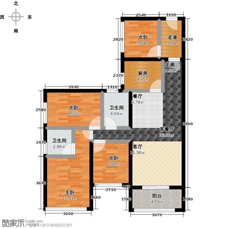 旭源瑞景轩89.00㎡C户型4室1厅2卫1厨