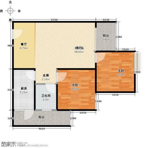 骏逸第一江岸孔雀湾二期2室0厅1卫1厨64.00㎡户型图