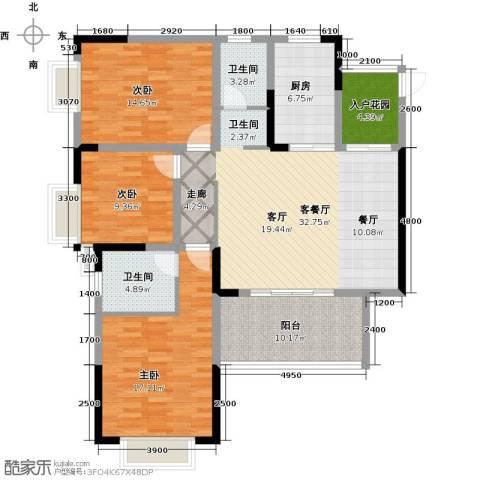 攀华未来城3室1厅2卫1厨109.00㎡户型图