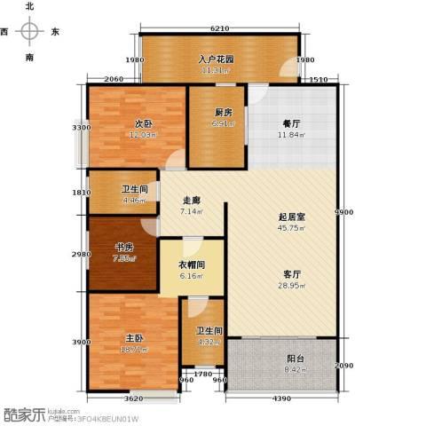 骏逸第一江岸孔雀湾二期3室0厅2卫1厨124.00㎡户型图