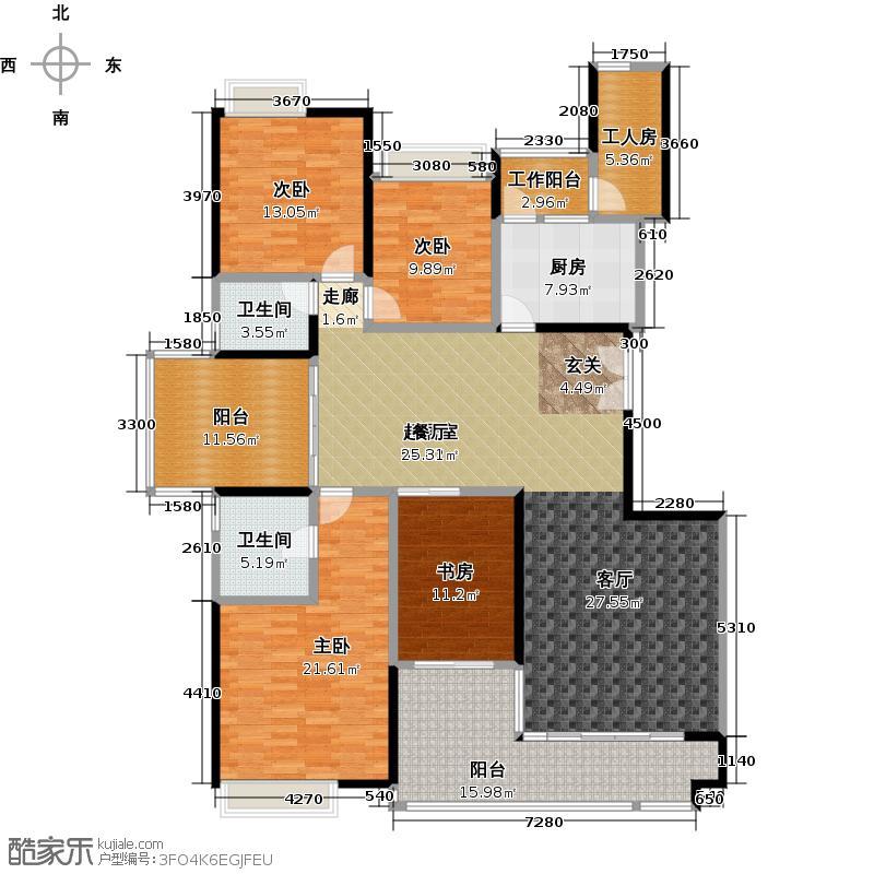 一品湖山B10栋标准层02单位户型4室2卫1厨