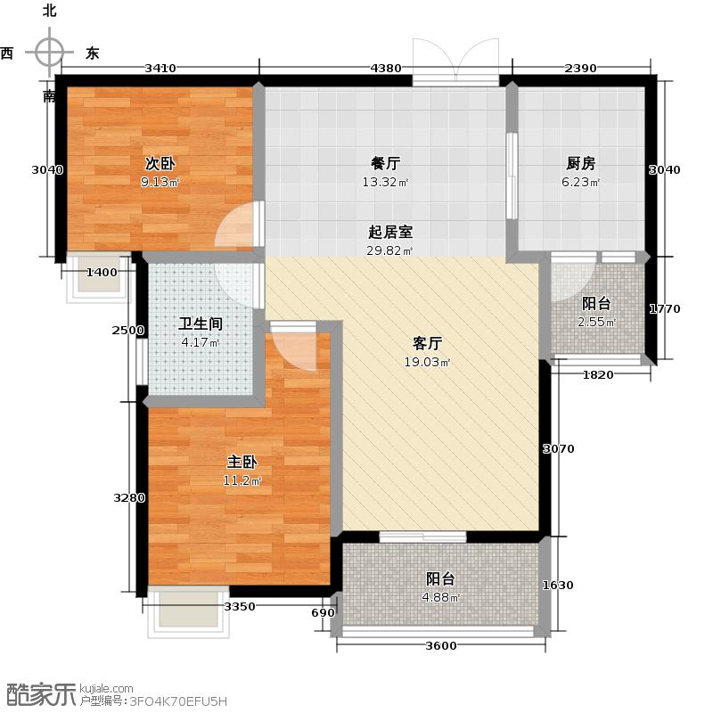丽都锦城四期14号楼标准层H3、4号房户型2室1卫1厨