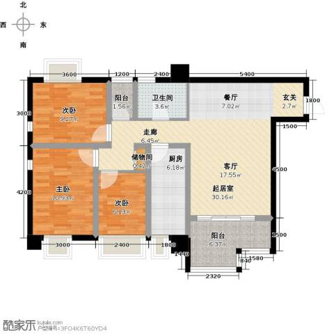 木鱼石水木年华3室0厅1卫1厨81.00㎡户型图