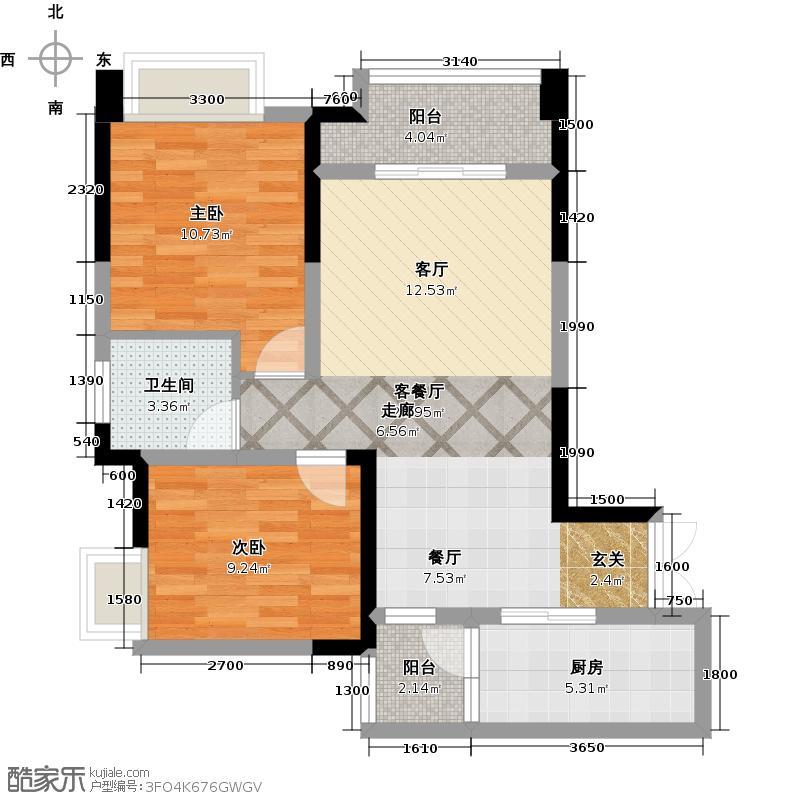 富州新城D街区D1户型2室1厅1卫1厨