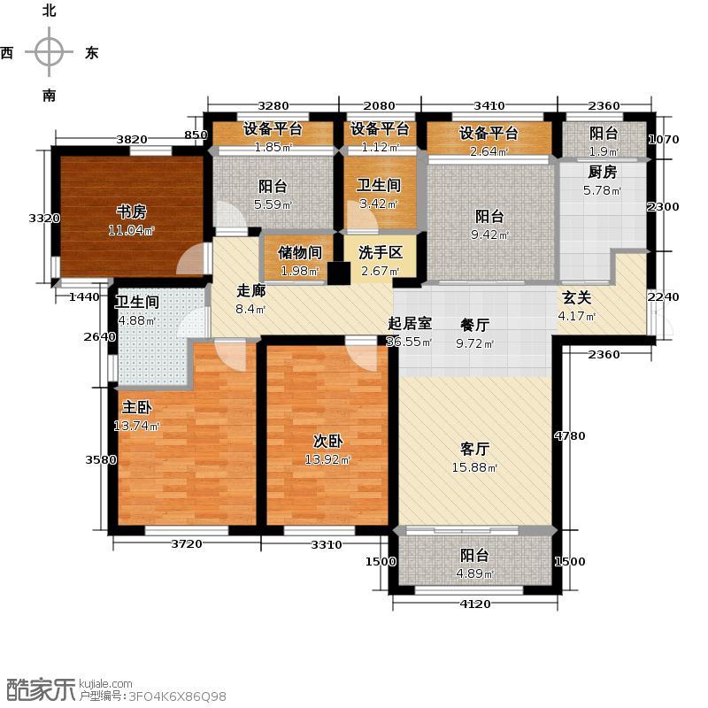 中环名品公馆A户型3室2卫1厨