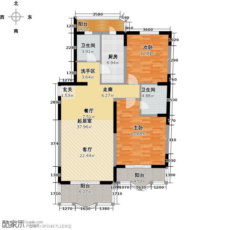 燕宁苑户型2室2卫1厨