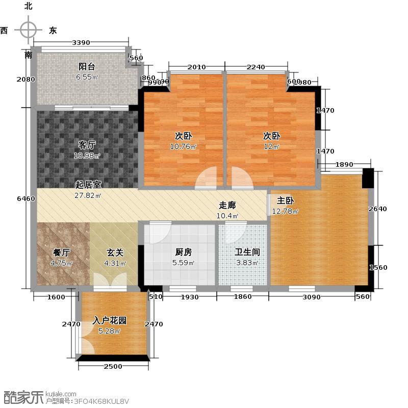 城央御景尚品7栋、11栋标准层04单元户型3室1卫1厨
