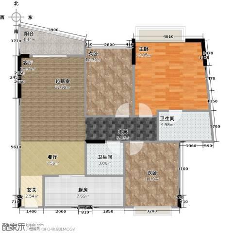 蔚蓝星湖二期3室0厅2卫1厨125.00㎡户型图