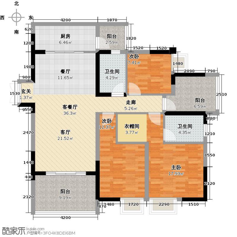 招商花园城C双卫户型3室1厅2卫1厨