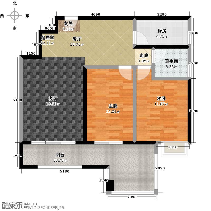 一品湖山B14、B15、B17栋标准层01单位户型2室1卫1厨
