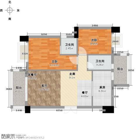 虎门地标2室1厅2卫1厨91.00㎡户型图