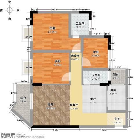 恒盈豪庭3室1厅2卫1厨108.00㎡户型图