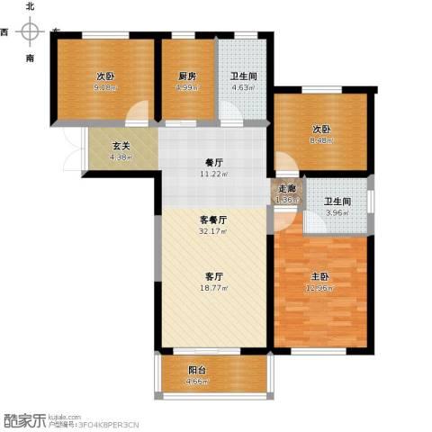 御景龙庭3室1厅2卫1厨117.00㎡户型图