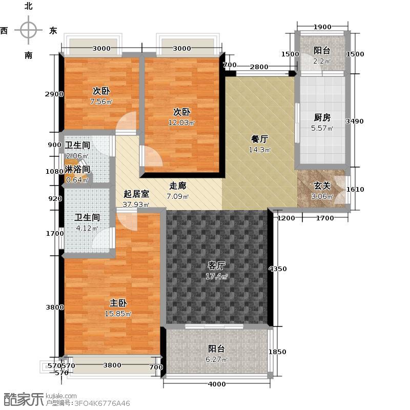 星晨时代豪庭4座13-24层03单元户型3室2卫1厨