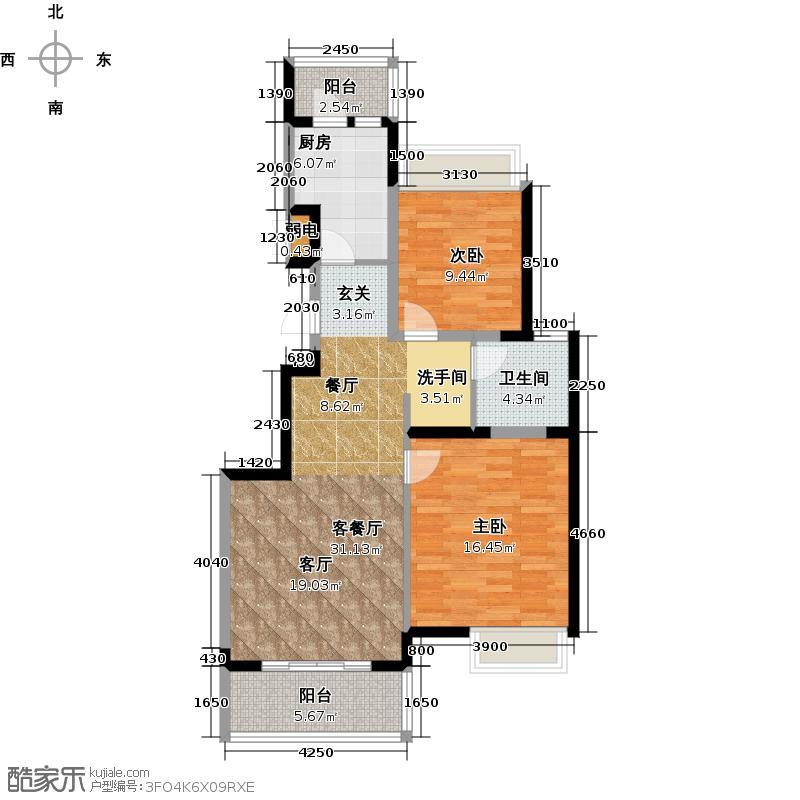 江桥万达广场公寓7-1号户型2室1厅1卫1厨