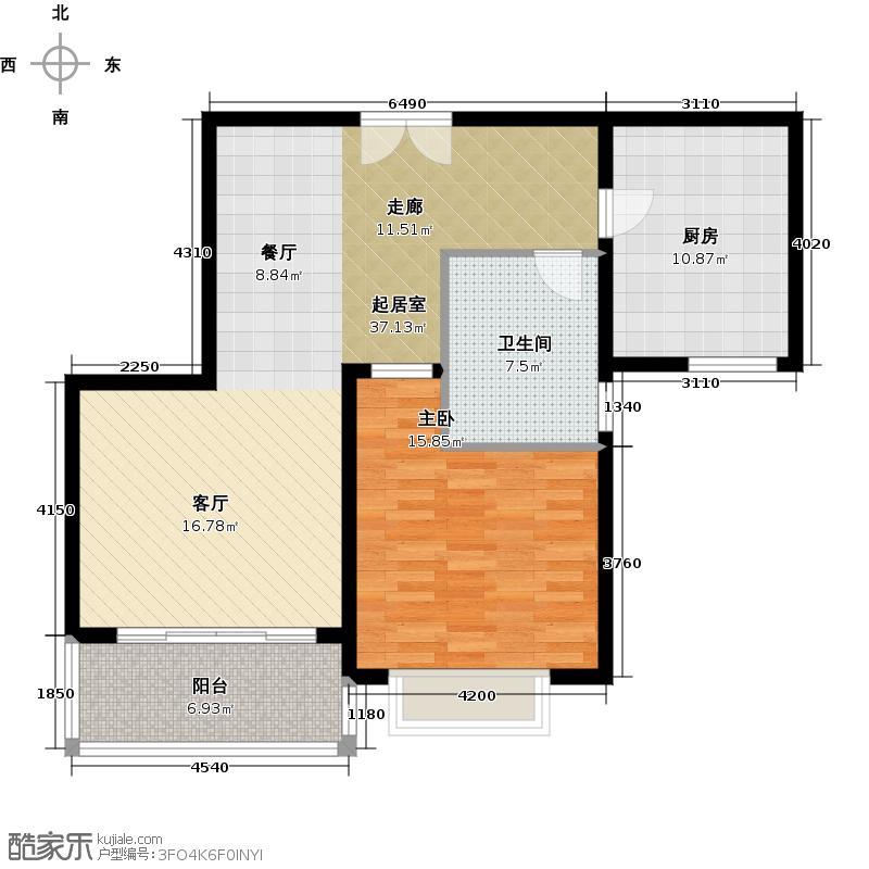 黄浦逸城B户型1室1卫1厨