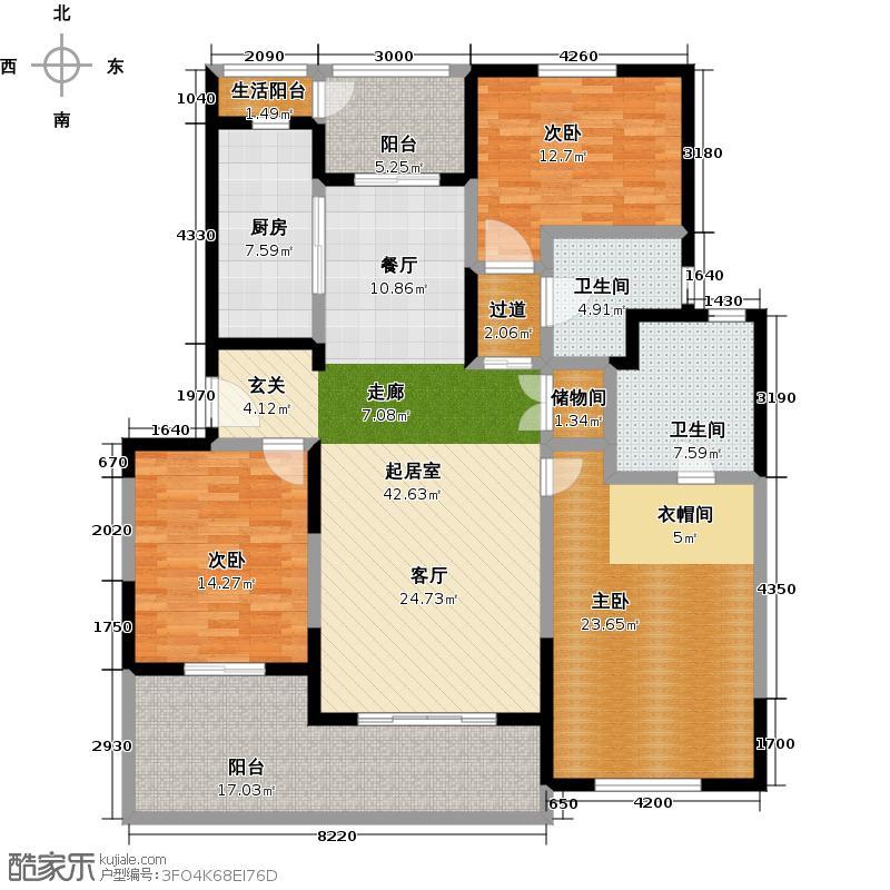 金沙雅苑A2户型3室2卫1厨
