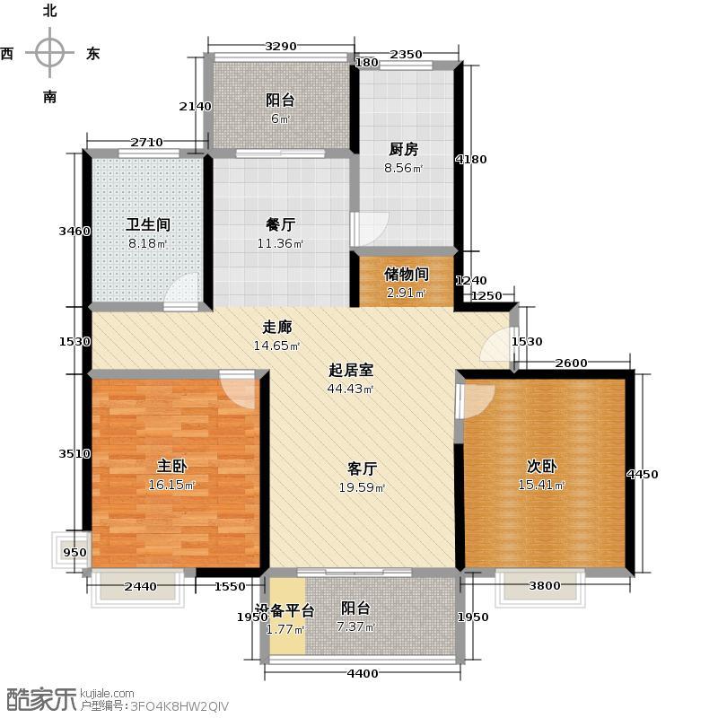 东方听潮豪园118.00㎡B3户型2室1卫1厨