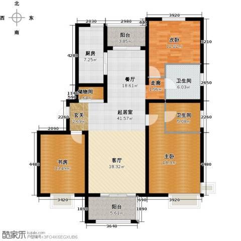 明城海湾新苑3室0厅2卫1厨131.00㎡户型图