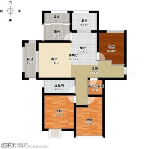 尚海湾豪庭3室1厅1卫1厨129.00㎡户型图
