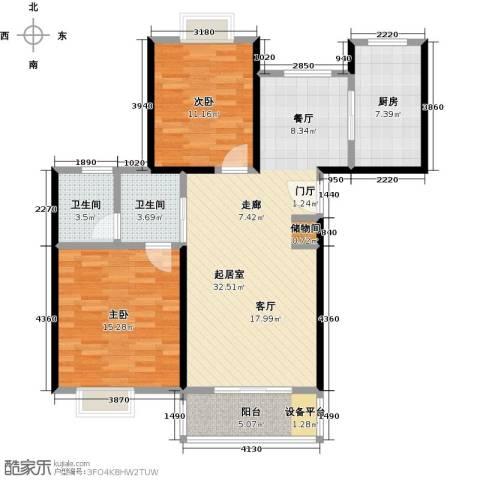 东方听潮豪园2室0厅2卫1厨89.00㎡户型图