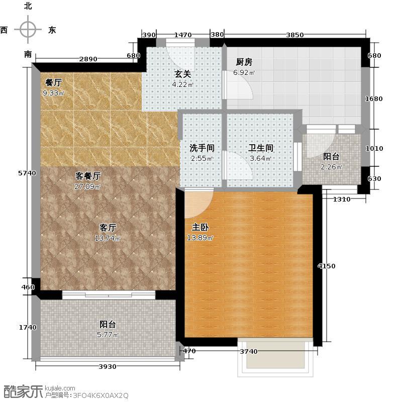 江桥万达广场公寓6-2号户型1室1厅1卫1厨