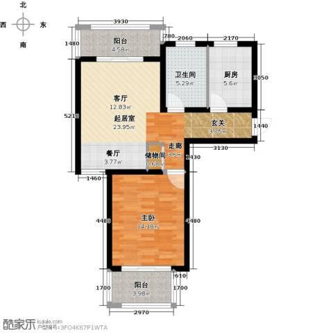 明城海湾新苑1室0厅1卫1厨68.00㎡户型图