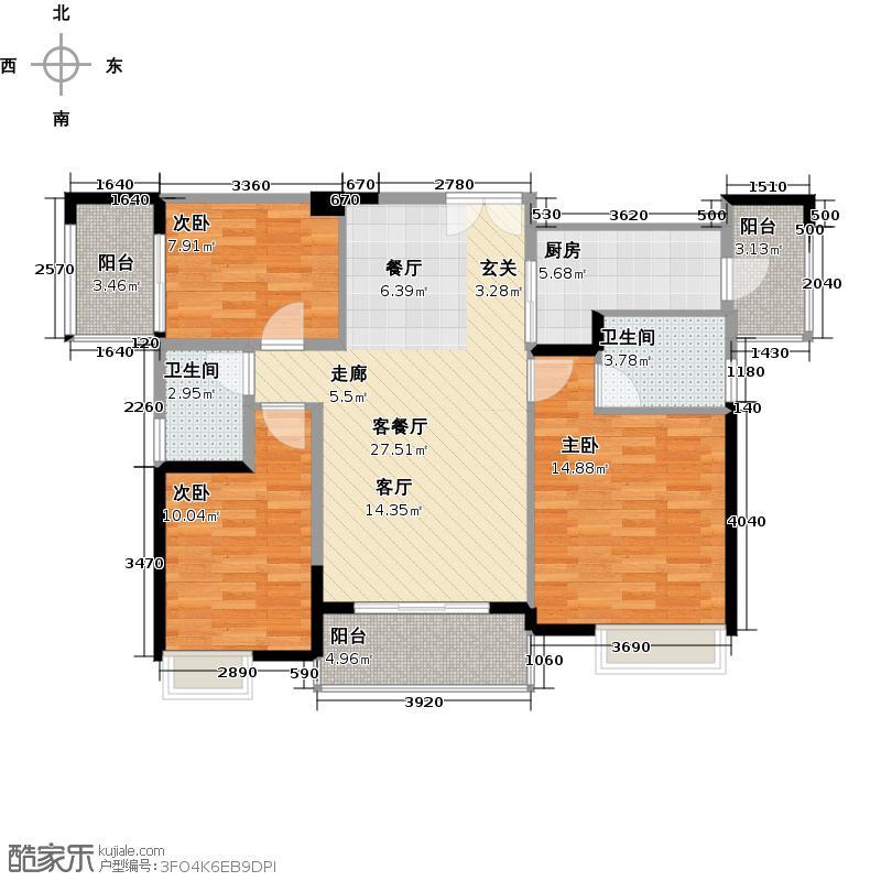 中惠�庭116.00㎡16栋05单元06单元户型3室1厅2卫1厨