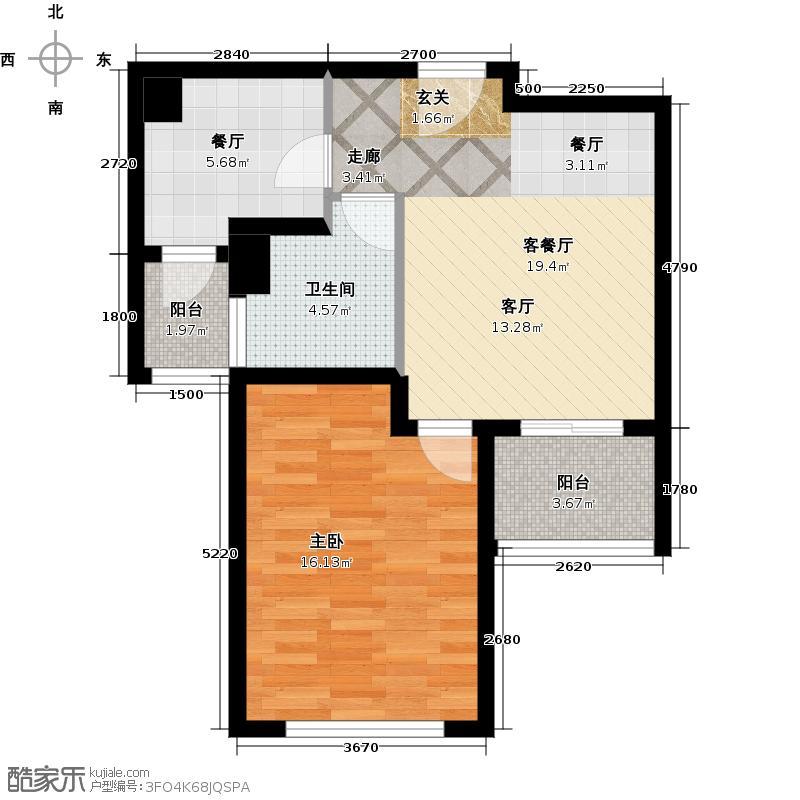 绿地新�香公馆C2/C3户型1室2厅1卫
