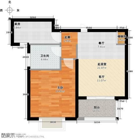 明城海湾新苑1室0厅1卫1厨58.00㎡户型图