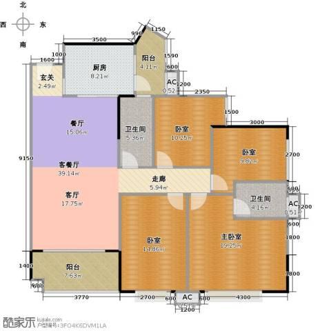 中兴花园二期1厅2卫1厨135.00㎡户型图
