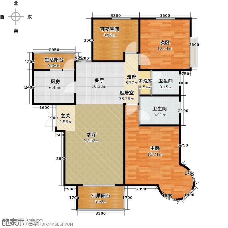 上林西江国际社区户型2室2卫1厨