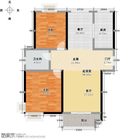 东方听潮豪园2室0厅1卫1厨89.00㎡户型图