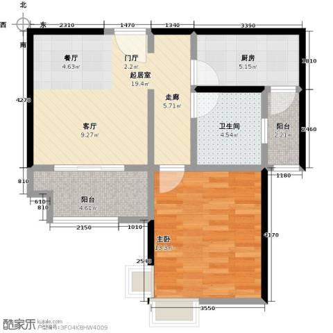 东方听潮豪园1室0厅1卫1厨57.00㎡户型图