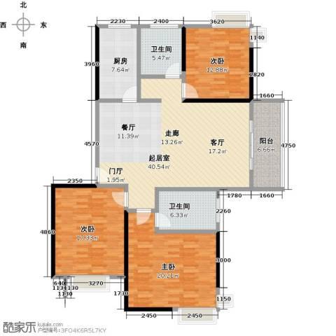 东方听潮豪园3室0厅2卫1厨130.00㎡户型图