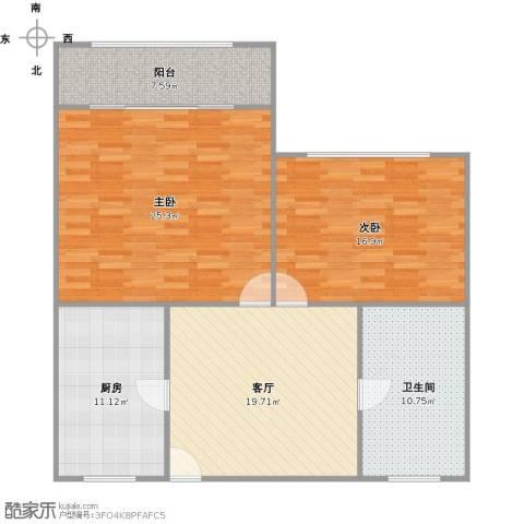 章家巷小区2室1厅1卫1厨121.00㎡户型图