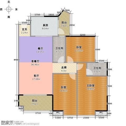 中兴花园二期1厅2卫1厨120.00㎡户型图