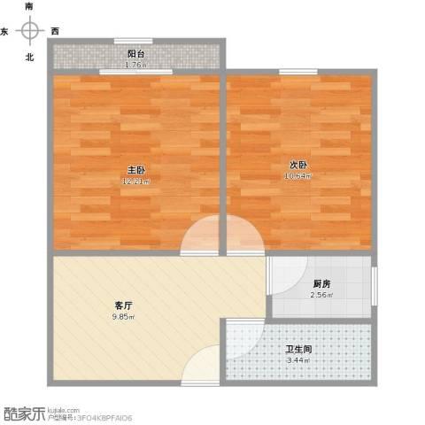 博山小区2室1厅1卫1厨55.00㎡户型图