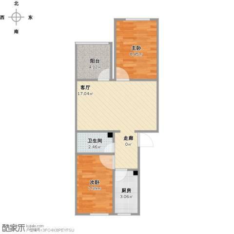 西八里庄北里2室1厅1卫1厨59.00㎡户型图