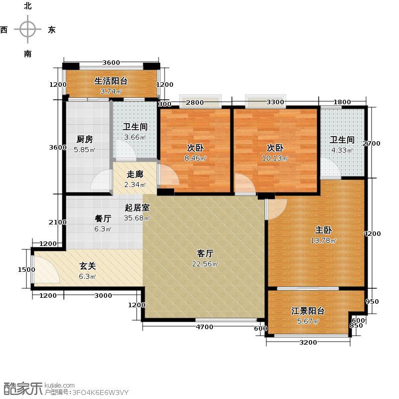 上林西江国际社区C1户型3室2卫1厨