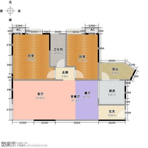 中兴花园二期1厅1卫1厨89.00㎡户型图