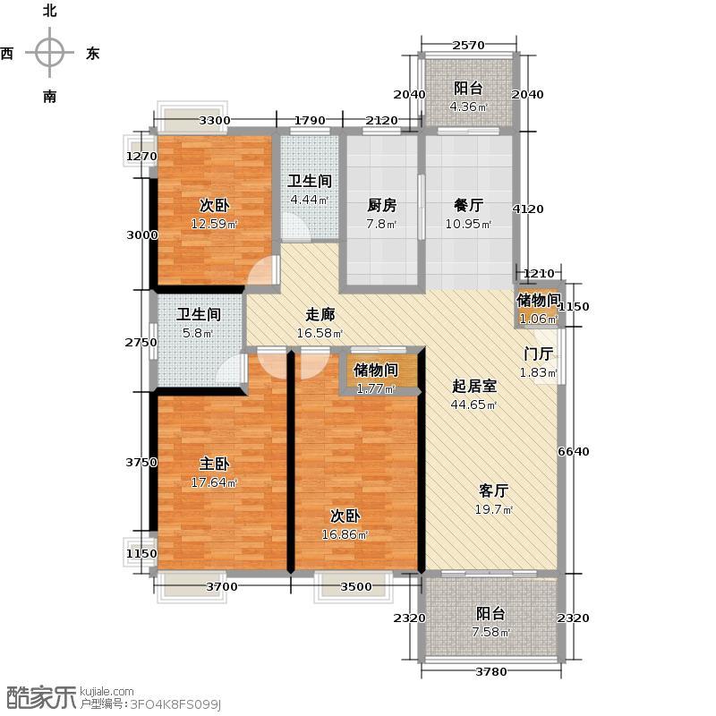 东方听潮豪园房型户型3室2卫1厨