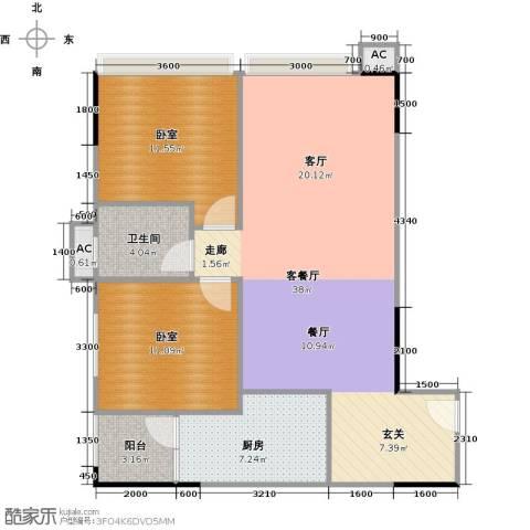 中兴花园二期1厅1卫1厨83.00㎡户型图
