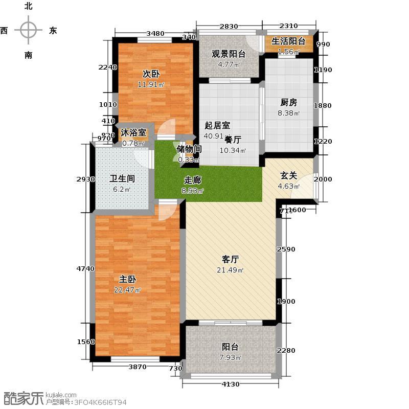 金沙雅苑A3户型2室1卫1厨