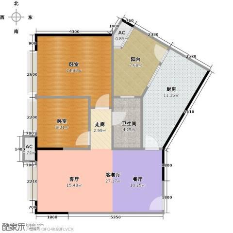 中兴花园二期1厅1卫1厨80.00㎡户型图